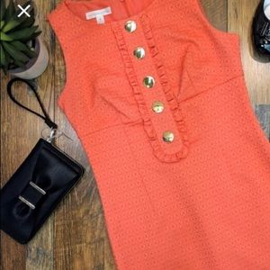 London Times coral brocade Sheath dress size 8